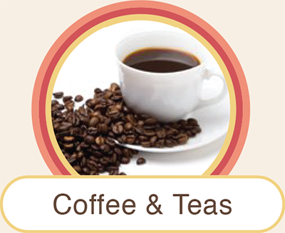 Locally sourced fresh coffee and aromatic The Tea Spot teas of different flavors